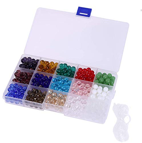Shapenty 8mm Round Decorative Smooth Glass Beads Bulk with Hole for DIY Craft Bracelet Necklace Jewelry Making, 15 Colors, 450 Pieces/Box