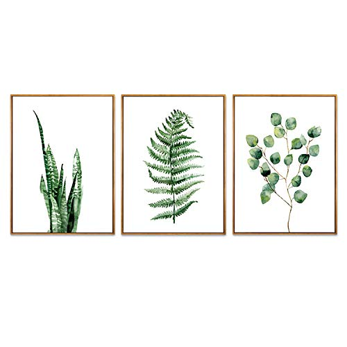 (Hepix Succulent Wall Art Green Leaves Canvas Wall Paintings Tropical Framed Stretched Wall Artwork for Living Room Decor and Modern Home Decorations 13 X 17 inch X 3PCS)