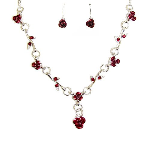 Red Roses Necklace and Earring Set
