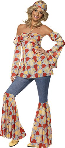 70's Theme Party Costume (Smiffy's Women's 1970's Vintage Hippie Costume, Halter neck Top, Sleeves, Flares and Headband, 70 Disco, Serious Fun, Plus Size 18-20, 39434)