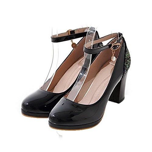 Round Nero Fibbia Weipoot shoes Pu Delle Costellata Alti Tacchi Pompe Donne toe fZxACqY