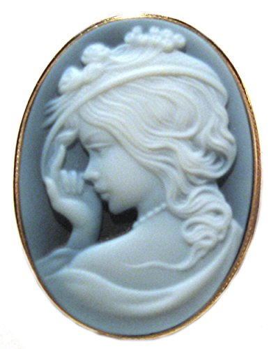 Cameo Brooch, Pendant Enhancer Lady with Hat, Natural Agate Stone, Sterling Silver 18k Gold Overlay, (Agate Cameo Brooch)