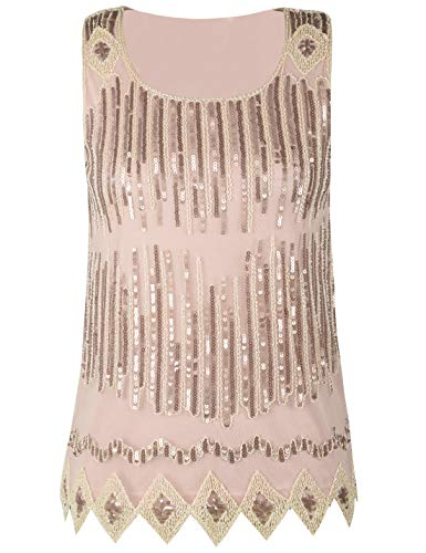 PrettyGuide Women's Sparkle Tank Top Sleeveless Cocktail Sequin Vest Top Clubwear L Champagne