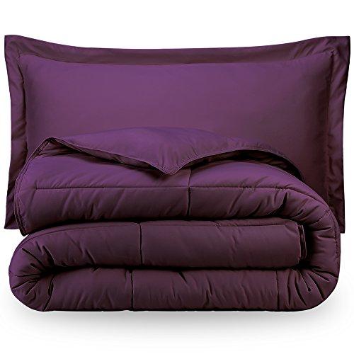 Bare Home Ultra-Soft Premium 1800 Series Goose Down Alternative Comforter Set - Hypoallergenic - All Season - Plush Fiberfill, Twin Extra Long (Twin XL, Plum)