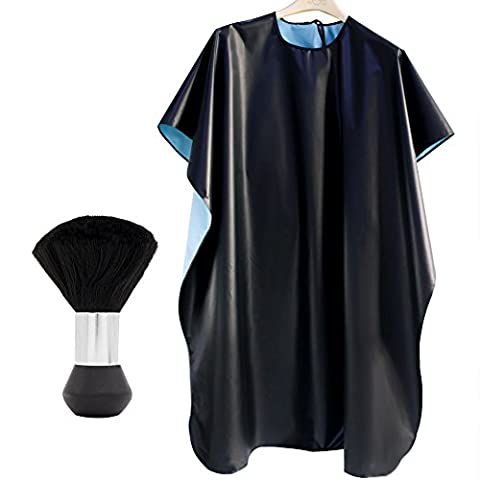 Queentools Waterproof Salon Nylon Cape, Barber Cape with Neck Duster for Hair Cutting, Black