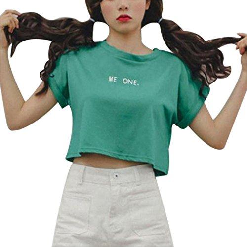 Women Blouse, TOPUNDER Fashion Print Letter Tops Short T-Shirt Blouse (S, (Bowknot Embellished Short)