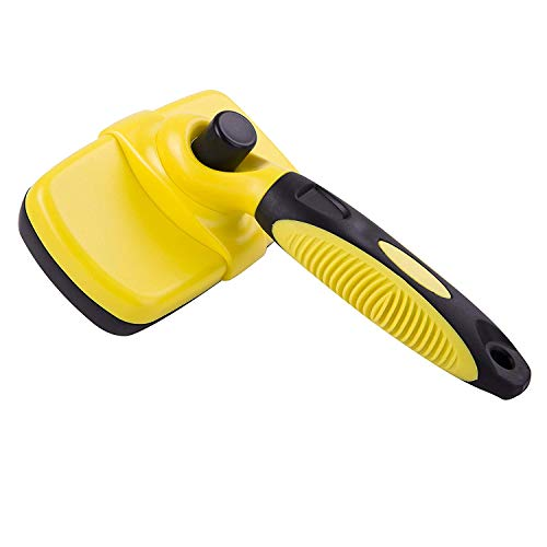 FAN STAR Self Cleaning Slicker Brush,Pet Brush,Best Pet Grooming Supplies for Dogs and Cats with Long or Short Hair, in The Most Efficient Way to Gently Remove Loose and Knotted Hair