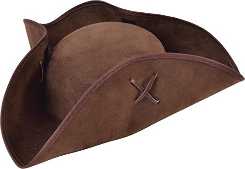 Bristol Novelty Pirate Tricorn Brown Suede Fabric