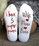 Wife Mom Boss Socks Mother's Day Funny Gifts Pink Message