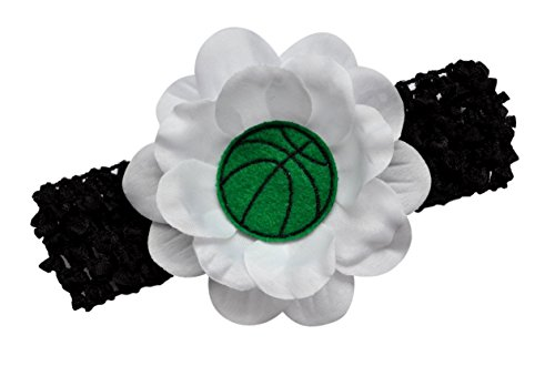Baby and Toddler Embroidered Felt Basketball Team Flower Headband in Boston Colors