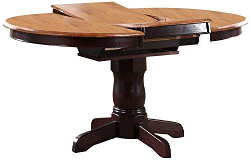"""Iconic Furniture Round Dining Table, 42"""" x 42"""" x 60"""", Whiskey Mocha Finish"""