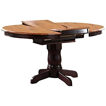 "Iconic Furniture Round Dining Table, 42"" x 42"" x 60"", Whiskey Mocha Finish"