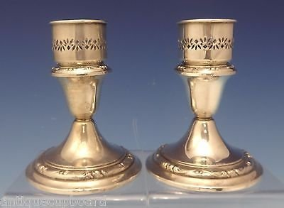 RONDO BY GORHAM STERLING SILVER CANDLESTICK PAIR WITH HURRICANE #1280 (#0564)