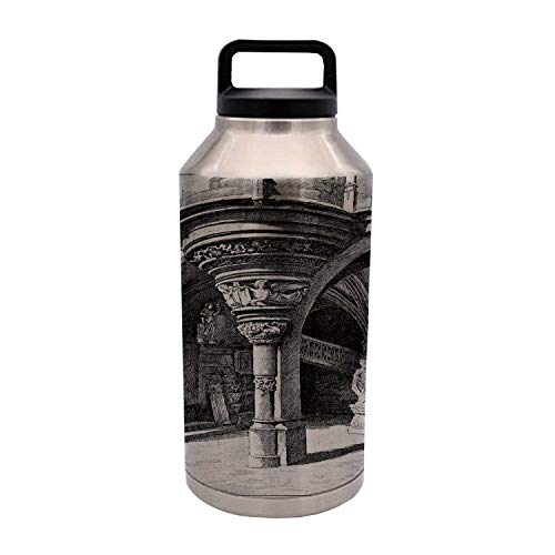 (TecBillion Gothic Durable 64OZ Stainless Steel Bottle,Old Sketch of Antique Medieval European Arch in Paris Culture Heritage Vintage Art for Home Travel Office,4