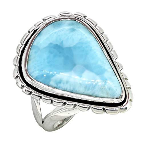 YoTreasure Pear Shape Natural Larimar Solid 925 Sterling Silver Gemstone Ring