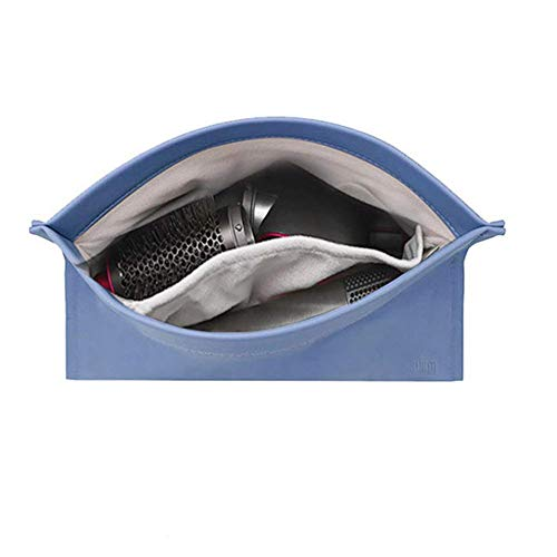 BUBM Travel Portable Storage bag for Dyson Airwrap Styler, Magnetic Flip PU Leather Moistureproof Anti-scratch Dustproof Shockproof Protection Organizer Travel Gift Case (Light Blue)