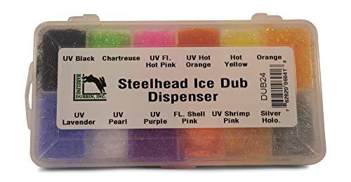 (Hareline Ice Dub - Dispenser W/ 12 Colors For Steelhead)