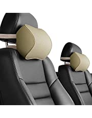Aukee Car Pillow - Leather Memory Foam Car Headrest Pillow, Supporting Neck Pillow