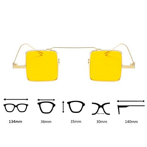 Gafas puente Square sol Dorado de metal gato Lens de UV400 ojo de Gafas protección Gafas estilo Hzjundasi de con Candy de delgado de Colored Amarillo Small wUPqnCxx4