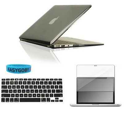 Easygoby Air 13-inch 3 in 1 Crystal Hardshell Case Cover for New Apple MacBook Air 13.3″ ( Model A1369 and A1466) + Matching Color Keyboard Cover + Screen cover + Custom Wristband -Black, Bags Central