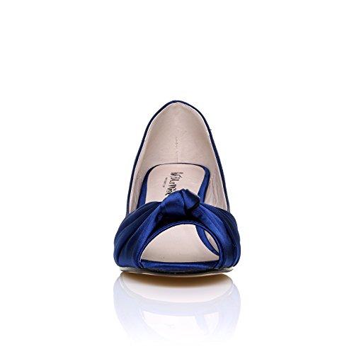 PARIS Navy Satin Kitten Medium Heel Bridal Peeptoe Shoes rhTxzmCW