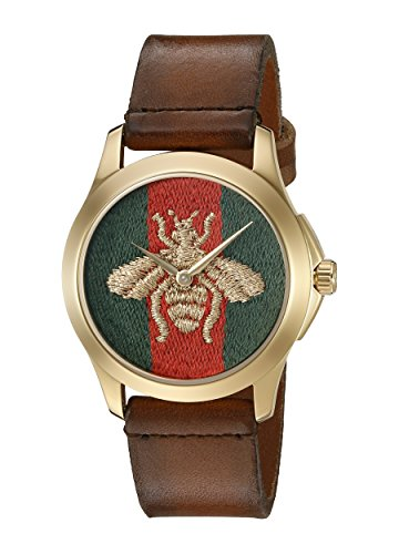 Gucci G-Timelss Analog ETA Quartz Brown Leather Watch Model YA126451