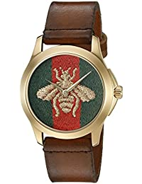 G-Timelss Analog ETA Quartz Brown Leather Watch(Model:YA126451)