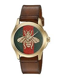 Gucci Unisex YA126451 G-Timeless Analog Display Analog Quartz Brown Watch