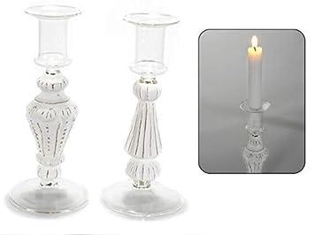 Kerzenleuchter kerzenhalter glas c details weiß antik amazon