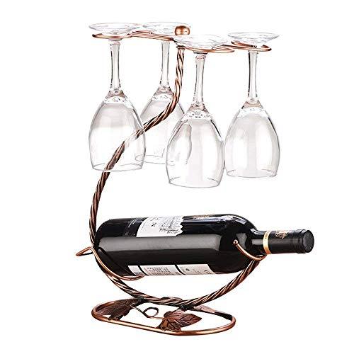 Wei Zhe- Wine Rack -Fashion Iron Tabletop Freestanding Wine Glass Stemware Metal Rack 1 Wine Bottles 4 Wine Storage Holder Display Stand Home Wine Rack