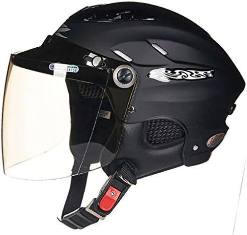 NJ ヘルメット- レトロヘルメットハーフヘルメット四季光樹脂ブラウンレンズ多色オプション (Color : Matte black, Size : 55-60cm)