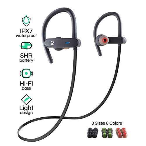 (Wireless Bluetooth Sport Earbuds for Running, Workouts, and Exercise - HiFi Stereo - IPX7 Waterproof Headphones with Mic and Noise Cancelling - Best 8 Hour Battery Life)
