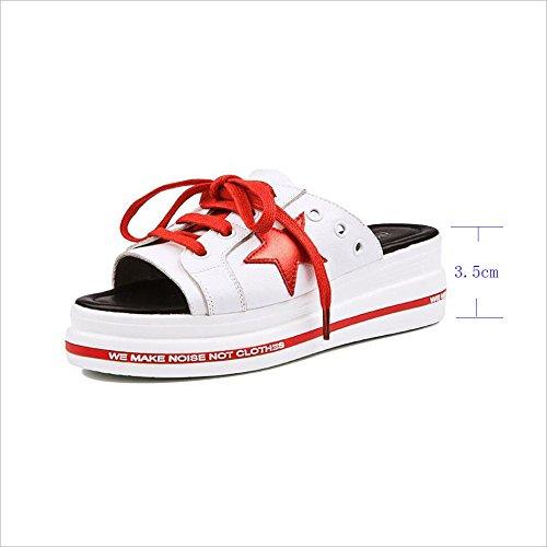 8 Sauvage 2018 Chaussures Femmes TIANYINI d'été XIE coréenne 5 Mode Nouveau en Noir Cuir Semelle Rouge 35 de 39 de des us5 Plage à 5 la Red 5cm 6 uk6 épaisse 3 Mode Pantoufles Hauteur TUFwq5U