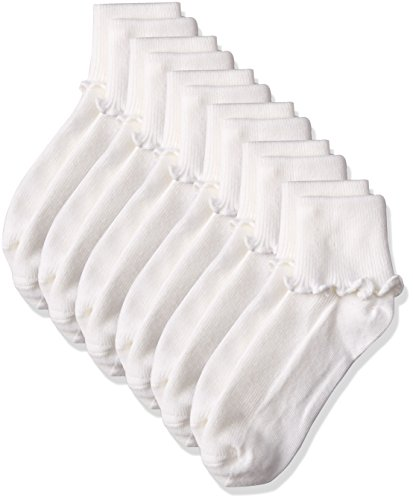 Jefferies Socks Little Girls Ripple Edge Turn Cuff Socks 6 Pair Pack, White, 6-7.5 by Jefferies Socks
