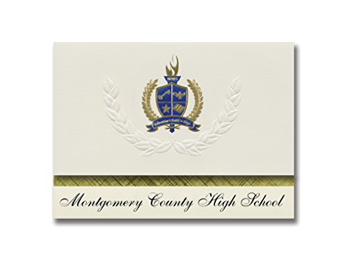 Signature Announcements Montgomery County High School (Montgomery City, MO) Graduation Announcements, Presidential Elite Pack 25 with Gold & Blue Metallic Foil seal]()
