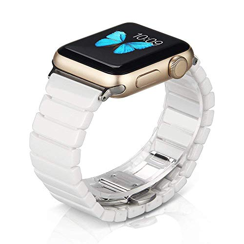 NotoCity Compatible Apple Watch Strap Series 4/3/2/1 38mm/40mm Ceramics Replacement Band Compatible iwatch Series 4/3/2/1 Wristband Link ()