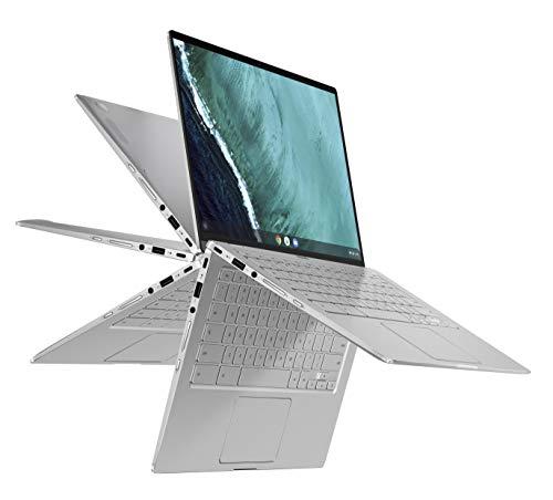 ASUS Chromebook Flip C434 2-In-1 Laptop, 14″ Full HD Touchscreen 4-Way NanoEdge, Intel Core M3-8100Y Processor, 4GB RAM, 64GB eMMC Storage, All-Metal Body, Backlit KB, Chrome OS- C434TA-DSM4T, Silver