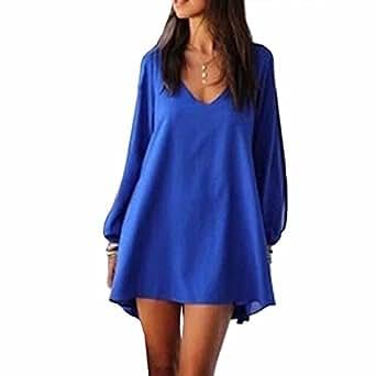 Women's Long Batwing Sleeve Mini V-Neck Irregular Hem Casual Loose Chiffon Dress Robe