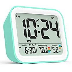 Battery Operated Alarm Clock, Small Simple Travel Alarm Clock with Indoor Thermometer & Digital Hygrometer, Loud Dual Alarm Clock for Bedrooms, Bedside, Desk, Teens, Kids - Cyan