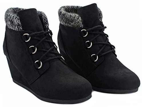 Poppet Faux Suede Lace Up Knit Sweater Cuff Mid Wedge Ankle Booties Black ISU HkzzZC8d1