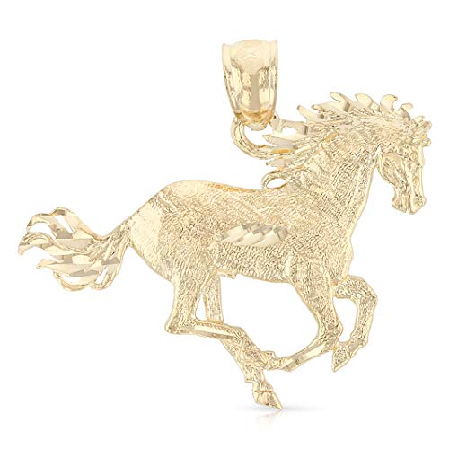 (Ioka - 14K Yellow Gold Horse Charm Pendant For Necklace or Chain)