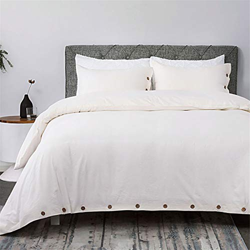 Bedsure 100% Washed Cotton Duvet Cover Sets Queen Full Size Cream Bedding Set 3 Pieces (1 Duvet Cover + 2 Pillow ()