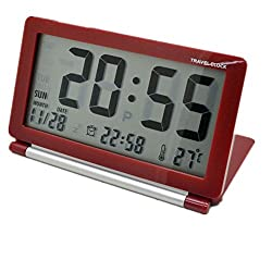 GenLed Multifunction Silent LCD Digital Large Screen Travel Desk Electronic Alarm Clock, Date/Time/Calendar/Temperature Display, Snooze, Folding (Red)