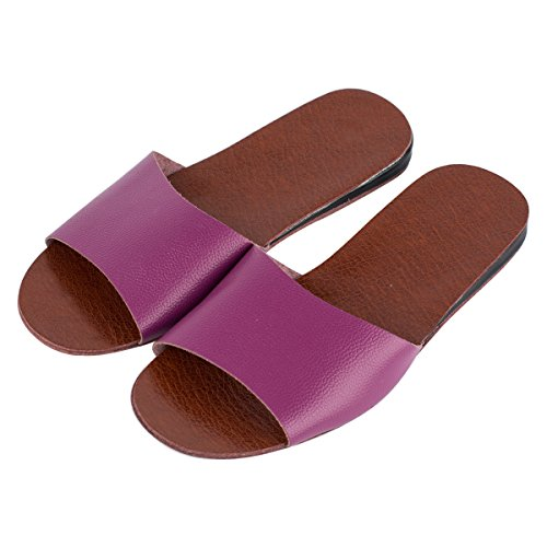 Haisum Womens Summer Open Toes Slippers Luxury Indoor Outdoor Leather Slip On House Sandals Purple AYADOBnj