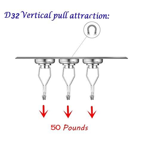 50lb Magnetic Hooks, Makone 1.26'' D32 Heavy Duty Rotating Swivel Swing Strong Neodymium Magnet Hooks (5 Packs) by Makone (Image #1)