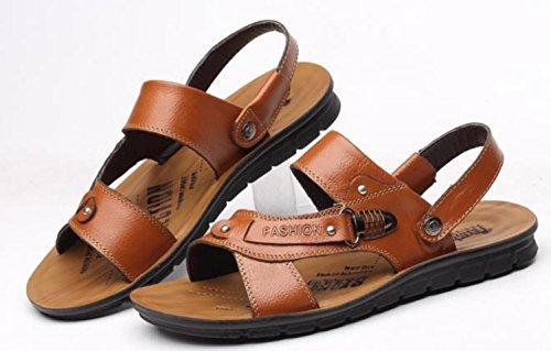 Pelle YCMDM c'è di nuovo estate fibbia in metallo Men Casual Shoes Pelle bovina sandali della spiaggia Pantofole , khaki , 41