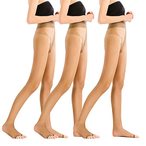 - Womens Open Toe Pantyhose 3 pack Ultra Soft Stirrup Sheer Stockings T crotch Tights