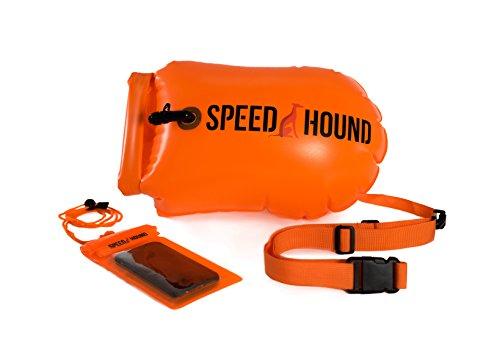 Speed Hound Swim Buoy - Open Water Swim Buoy Flotation Device With Dry Bag and Waterproof Cell Phone Case (Orange) for Swimmers, Triathletes, and Snorkelers. Floats for Safer Swims