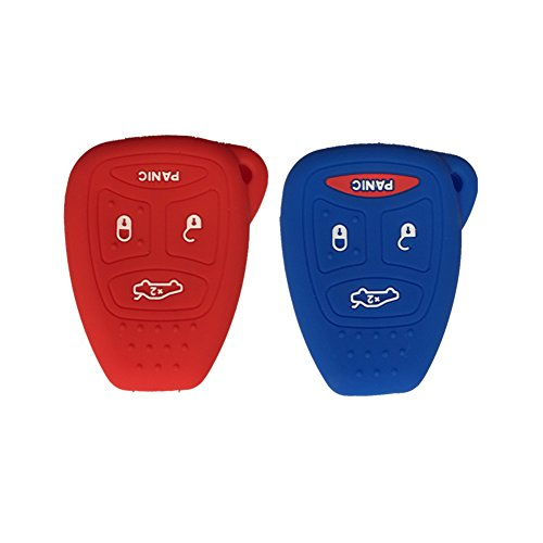 Red and Navy Blue Silicone Rubber Keyless Entry Remote Key Fob Case Skin Cover Protector fit for 2006 2007 MITSUBISHI Raider