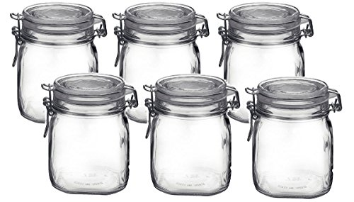 - Bormioli Rocco Fido Clear Glass Jar with 85 mm Gasket.75 Liter (6 Pack), (Pack of 6)